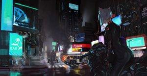 Rating: Safe Score: 66 Tags: animal_ears bodysuit building catgirl city gloves jun_(5455454541) motorcycle night original robot short_hair white_hair User: SciFi