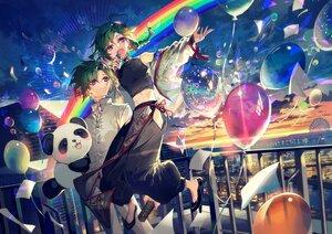 Rating: Safe Score: 19 Tags: all_male clouds green_hair male mura_karuki nijisanji purple_eyes rainbow ryuushen short_hair sky sunset User: BattlequeenYume