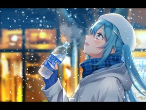 Rating: Safe Score: 56 Tags: aqua_eyes aqua_hair blush hat hatsune_miku long_hair scarf snow tagme_(artist) twintails vocaloid User: Maboroshi