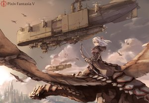 Rating: Safe Score: 176 Tags: aircraft bow bow_(weapon) clouds dragon gray_eyes long_hair original pixiv_fantasia pointed_ears skirt thighhighs weapon white_hair wings xiao_qiang_(overseas) User: HawthorneKitty