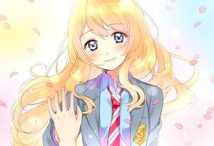Rating: Safe Score: 55 Tags: blonde_hair blue_eyes miyazono_kaori nerunnn petals school_uniform shigatsu_wa_kimi_no_uso User: mattiasc02