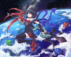 Rating: Safe Score: 93 Tags: earth houjuu_nue mumulatte planet spear thighhighs touhou weapon User: FormX