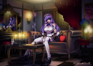 Rating: Safe Score: 36 Tags: dream_c_club eyepatch kotobuki_utage maid mari_(dream_c_club) purple_hair thighhighs User: anaraquelk2