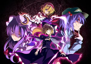 Rating: Safe Score: 19 Tags: alice_margatroid blonde_hair blue_eyes blue_hair cape hat headdress kawashiro_nitori kirisame_marisa long_hair patchouli_knowledge purple_eyes purple_hair sakurame short_hair skirt touhou witch_hat yellow_eyes User: Flandre93