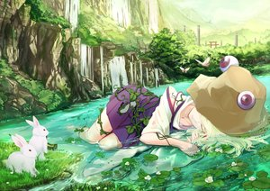 Rating: Safe Score: 93 Tags: animal blonde_hair butterfly cloudy.r flowers grass hat landscape leaves moriya_suwako rabbit scenic skirt sleeping torii touhou water waterfall wet User: Flandre93
