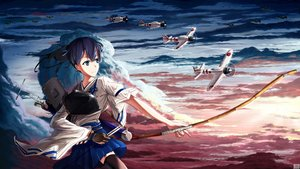Rating: Safe Score: 55 Tags: aircraft anthropomorphism bow_(weapon) japanese_clothes kaga_(kancolle) kantai_collection qiki_d_arc thighhighs weapon User: Flandre93