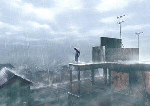 Rating: Safe Score: 60 Tags: black_hair building city clouds long_hair mocha_(cotton) original rain rooftop ruins signed sky umbrella water User: otaku_emmy