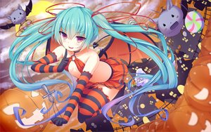 Rating: Safe Score: 202 Tags: animal aqua_hair bat blush breasts candy cross elbow_gloves gloves halloween hatsune_miku long_hair necklace papino pumpkin purple_eyes ribbons skirt tail thighhighs twintails vocaloid wings zettai_ryouiki User: luckyluna