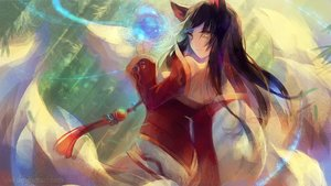 Rating: Safe Score: 140 Tags: ahri_(league_of_legends) animal_ears brown_hair dress foxgirl league_of_legends long_hair lyiet multiple_tails tail watermark yellow_eyes User: mattiasc02