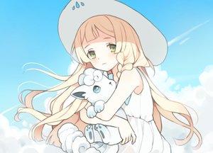 Rating: Safe Score: 44 Tags: blonde_hair braids clouds dress green_eyes hat hinia lillie_(pokemon) long_hair pokemon sky summer_dress vulpix User: otaku_emmy