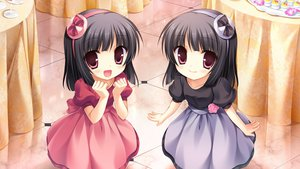 Rating: Safe Score: 89 Tags: 2girls black_hair cabbit dress game_cg loli long_hair midori_no_umi pink_eyes rikuno sorane twins yukie User: Katsumi