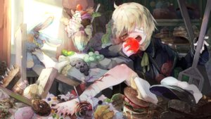 Rating: Safe Score: 18 Tags: all_male apple bandage barefoot blonde_hair bunny candy cape food fruit hat ice_cream lollipop male oliver orange_eyes ribbons short_hair tagme_(artist) vocaloid User: luckyluna