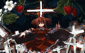 Rating: Safe Score: 22 Tags: flowers food okazaki_yumemi red_eyes red_hair shimadoriru strawberry touhou User: PAIIS