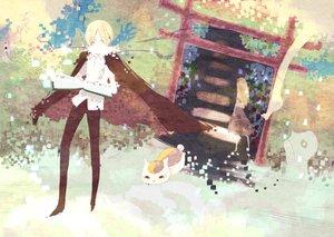 Rating: Safe Score: 19 Tags: animal blonde_hair book cape cat jippun_maru long_hair madara male natsume_reiko natsume_takashi natsume_yuujinchou short_hair skirt torii wink yellow_eyes User: mrdkreka