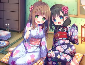 Rating: Safe Score: 68 Tags: 2girls aqua_eyes asa_no_ha barefoot black_hair blush braids brown_hair green_eyes japanese_clothes loli long_hair original twintails yukata User: BattlequeenYume