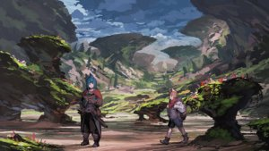 Rating: Safe Score: 80 Tags: 2girls animal_ears blue_hair boots brown_hair cape gloves jumpei99 landscape original scarf scenic User: Flandre93