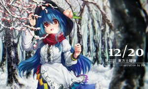 Rating: Safe Score: 97 Tags: blue_hair dqn_(dqnww) dress hat hinanawi_tenshi long_hair red_eyes scarf snow touhou tree watermark winter User: Flandre93