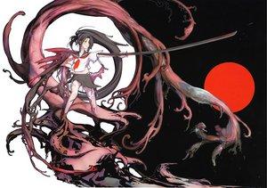 Rating: Safe Score: 97 Tags: chuuou_higashiguchi original ponytail seifuku sword torn_clothes weapon User: Wiresetc