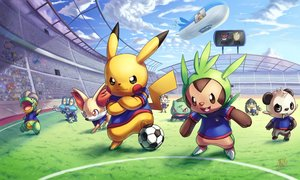 Rating: Safe Score: 70 Tags: bagon ball bulbasaur chespin deoxys fennekin froakie grass ho-oh_(artist) meowth pikachu pokemon rayquaza soccer sport tagme User: C4R10Z123GT