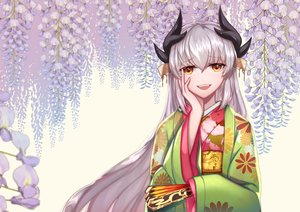 Rating: Safe Score: 38 Tags: fate/grand_order fate_(series) flowers horns japanese_clothes kimono kiyohime_(fate/grand_order) long_hair tagme_(artist) white_hair yellow_eyes User: BattlequeenYume