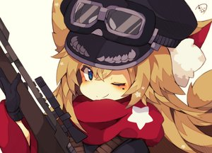 Rating: Safe Score: 54 Tags: animal_ears blonde_hair blue_eyes close gloves goggles gun hat military muuran original scarf signed tail weapon wink User: otaku_emmy