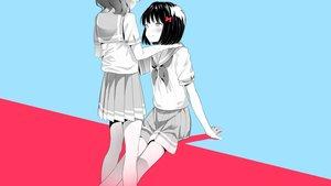 Rating: Safe Score: 90 Tags: 2girls cyan hibike!_euphonium hisaishi_kanade oumae_kumiko pink polychromatic school_uniform shiratama_mochi shoujo_ai User: Dreista