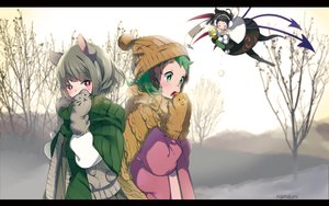 Rating: Safe Score: 72 Tags: animal_ears black_hair blush earmuffs gloves gray_hair green_eyes green_hair houjuu_nue kasodani_kyouko mousegirl namauni nazrin pantyhose red_eyes scarf short_hair snow touhou tree watermark wings winter User: otaku_emmy