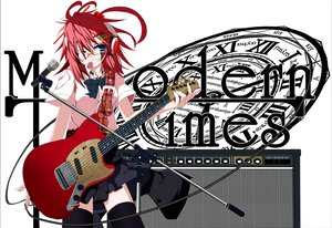 Rating: Safe Score: 51 Tags: atuuy glasses guitar headphones instrument original red_hair thighhighs wink User: Wiresetc