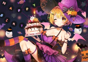 Rating: Safe Score: 54 Tags: animal ayamy bat blonde_hair blush bow breasts cake cleavage food halloween hat heart hololive pumpkin short_hair thighhighs wings wink witch_hat yellow_eyes yozora_mel User: RyuZU