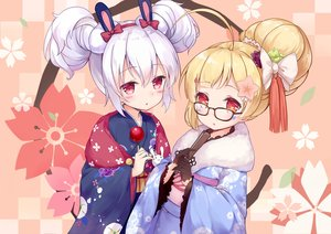 Rating: Safe Score: 64 Tags: 2girls animal_ears anthropomorphism apple azur_lane blonde_hair bunny_ears candy cannian_dada eldridge_(azur_lane) fan food fruit glasses gloves japanese_clothes kimono laffey_(azur_lane) red_eyes short_hair white_hair User: Nepcoheart