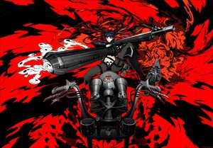 Rating: Safe Score: 126 Tags: arsenixc black_hair black_rock_shooter boots gun kuroi_mato motorcycle navel pantyhose red twintails weapon User: FormX