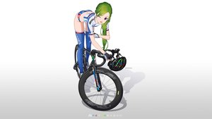 Rating: Safe Score: 49 Tags: ass bicycle gloves gradient green_hair hitomi_kazuya long_hair original purple_eyes shorts skintight thighhighs wink User: gnarf1975