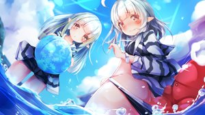 Rating: Questionable Score: 38 Tags: 2girls animal ass ball blush clouds gray_hair hoodie loli long_hair mataro_(mtr_prpr) open_shirt original pointed_ears red_eyes short_hair shorts sky water white_hair wristwear User: BattlequeenYume