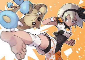 Rating: Safe Score: 22 Tags: barefoot blue_eyes bodysuit dark_skin gazacy_(dai) gloves gray_hair headband hitmontop kick orange pokemon saitou_(pokemon) short_hair shorts wristwear User: otaku_emmy