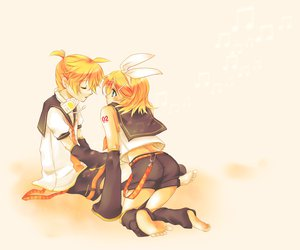 Rating: Safe Score: 28 Tags: barefoot blonde_hair blue_eyes bow headphones kagamine_len kagamine_rin male short_hair vocaloid User: HawthorneKitty