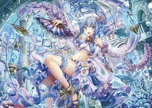 Rating: Safe Score: 66 Tags: animal blue_eyes blue_hair bubbles fan fish flowers long_hair navel scan tagme_(artist) underwater water User: BattlequeenYume