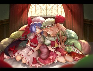Rating: Safe Score: 84 Tags: 2girls blonde_hair blue_hair flandre_scarlet hat pen_(pixiv257621) remilia_scarlet skirt sleeping touhou vampire wings wristwear User: Flandre93