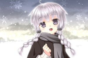 Rating: Safe Score: 30 Tags: blush braids gray_hair long_hair purple_eyes scarf snow sumikaze twintails vocaloid voiceroid yuzuki_yukari User: luckyluna