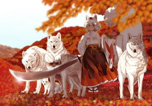 Rating: Safe Score: 207 Tags: animal animal_ears bon_(rump) inubashiri_momiji sword touhou weapon white_hair wolf wolfgirl User: opai