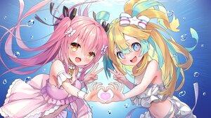 Rating: Safe Score: 39 Tags: 2girls amakawa_hano aqua_eyes bettle_(b_s_a_n) blonde_hair blush bow bubbles dress fang heart himekuma_ribon long_hair navel orange_eyes pink_hair ponytail re:act ribbons twintails underwater water User: otaku_emmy