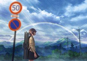 Rating: Safe Score: 32 Tags: brown_hair clouds instrument mocha_(cotton) original rainbow seifuku short_hair signed skirt sky tree User: RyuZU