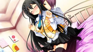 Rating: Explicit Score: 114 Tags: bed black_hair blush breast_grab game_cg long_hair purple_hair renai_zero_kilometer ribbons seifuku short_hair skirt thighhighs yellow_eyes User: rinkimeku
