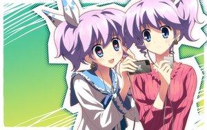 Rating: Safe Score: 55 Tags: blue_eyes blush dj_max headphones heart long_hair ponytail purple_hair seha twins yuuki_tatsuya User: atlantiza