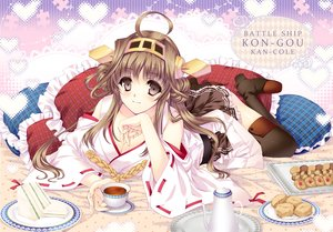 Rating: Safe Score: 108 Tags: anthropomorphism boots breasts brown_hair cleavage drink food gray_eyes headband japanese_clothes kantai_collection kongou_(kancolle) long_hair miko skirt tamiya_akito thighhighs User: Flandre93