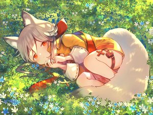 Rating: Safe Score: 51 Tags: animal_ears bell cross flowers foxgirl garter grass gray_hair loli orange_eyes original short_hair tail umika35 User: otaku_emmy