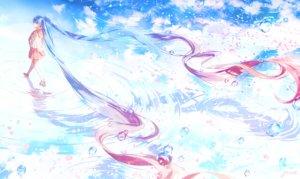 Rating: Safe Score: 70 Tags: aqua_hair bubbles gomzi hatsune_miku long_hair petals reflection school_uniform signed skirt thighhighs twintails vocaloid water User: RyuZU