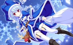 Rating: Safe Score: 91 Tags: blue_hair braids christmas hat lunaris_filia melis mikagami_mamizu red_eyes reindeer santa_costume santa_hat snow thighhighs whirlpool User: Wiresetc