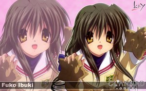Rating: Safe Score: 14 Tags: brown_hair clannad ibuki_fuuko key logo long_hair seifuku yellow_eyes zoom_layer User: Oyashiro-sama