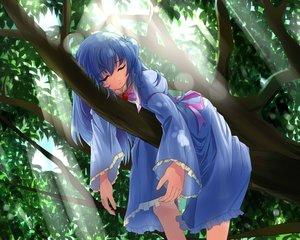 Rating: Safe Score: 86 Tags: angelic_sonata blue_hair dress game_cg long_hair neko_eel qblade shiori_(angelic_sonata) sleeping tree User: ANIMEHTF