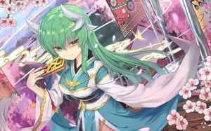 Rating: Safe Score: 72 Tags: fan fate/grand_order fate_(series) green_eyes green_hair horns japanese_clothes kiyohime_(fate/grand_order) long_hair tsubaki_(yi) User: RyuZU